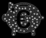 Signalljus Mesh Network Euro Piggy Bank med signalljusfläckar royaltyfri illustrationer