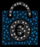 Signalljus Mesh Network Euro Shopping Bag med signalljusfläckar royaltyfri illustrationer