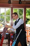 Signalman in signal box, Highley. Royalty Free Stock Photography