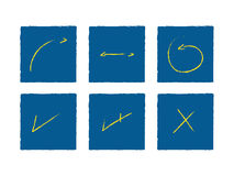 Signals. Handmade Arrows and Signals Yellow on Blue (jpeg file has clipping path Stock Image