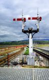 Signals at Ffestiniog station Stock Photography