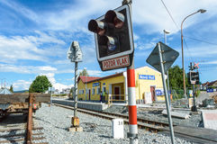 Signals in front of the Niva Hut station with a railway track in the background Stock Images
