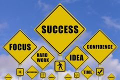 Signals with the keys to obtain success. In business with sky on background. 3d illustration royalty free illustration