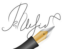 Signature. Fountain pen and signature on a white background Stock Image