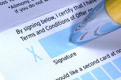 Signature. Pen and Document Stock Photos