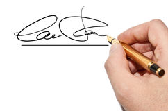 Signature. Hand writing an imaginary signature Royalty Free Stock Image