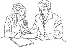 Signature. The man explains the document. The woman listens Royalty Free Stock Photography