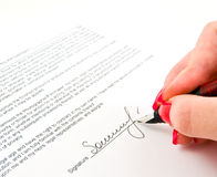 Signature. And Close-up of a fountain pen Stock Photography