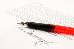 Signature. And close-up of a fountain pen Stock Photos