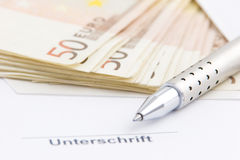 Signature. Waiting for some money Royalty Free Stock Photo