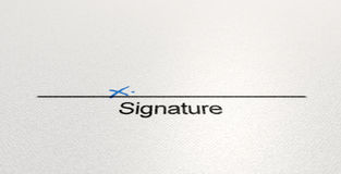 Signature Area X. A white paper with a black line printed in ink showing the area for a signature to be signed and indicated with a hand written x Royalty Free Stock Photography