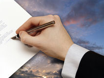 The Signature of Business Contract on the dramatic Royalty Free Stock Photo
