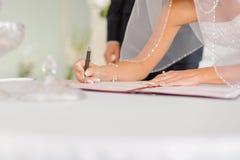 Signature in Certificate Stock Photo
