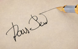 The signature close up and fountain pen. Stock Photo