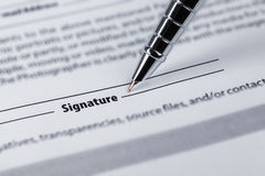 Signature closeup Stock Photo