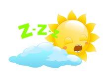 Sun logo  on a white background. Sun logo, sun sleep, cartoon sun Stock Photography