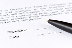 Signature contract Stock Image