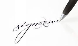 Signature in the contract. Focus is on the signature on white background Royalty Free Stock Photo