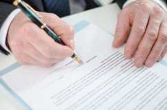 Signature of a contract Royalty Free Stock Photos