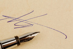 Signature on a contract Royalty Free Stock Photography