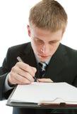 signature d'homme de contrat Photo stock