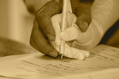 Signature de couples Photographie stock libre de droits