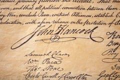 Signature de John Hancock Image libre de droits