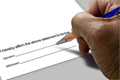 Signature on Document. Handwriting for the business -  man with pen in hand Royalty Free Stock Photos