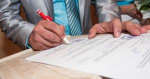 Signature document contract stock photos