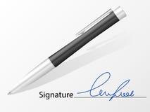 Signature et stylo bille Image libre de droits