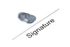 Signature with fingerprint Royalty Free Stock Photos