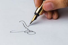 Signature of a fountain pen Royalty Free Stock Photos