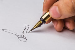 Signature of a fountain pen Royalty Free Stock Image