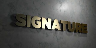 Signature - Gold sign mounted on glossy marble wall  - 3D rendered royalty free stock illustration Royalty Free Stock Image