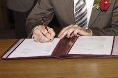 Signature of Groom Stock Photo