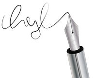 Signature. Illustration of nib fountain pen with signature Stock Photos