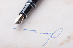Signature on old paper Royalty Free Stock Image