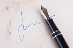 Signature on old paper Stock Photo