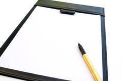 Signature pad and gold pen isolated Stock Photos