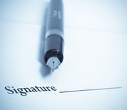Signature and pen Royalty Free Stock Images