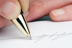 Signature with pen Royalty Free Stock Photos