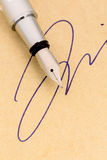Signature and pen Royalty Free Stock Photography
