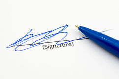 Signature. Pen and signature isolated on white background Royalty Free Stock Photo