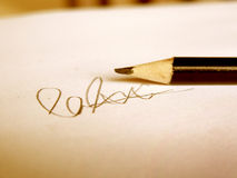 Signature in Pencil Stock Photo