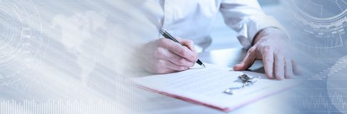Real estate contract signature (lorem ipsum text used). panoramic banner. Signature of a real estate contract (lorem ipsum text used). panoramic banner stock photography