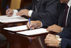 Signature signing Stock Photo