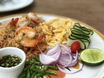 Shrimp fried rice. Signature Thai dish contained with fried rice shrimp and fish sauce Stock Photography