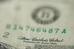 Signature of treasurer on dollar banknote. Macro close up view royalty free stock photo