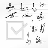 Signature vector set Royalty Free Stock Images