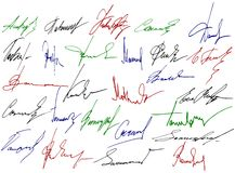 Signature writing signs. Stock Image